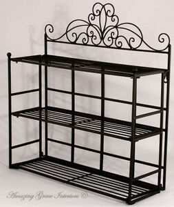 metal kitchen storage racks shabby chic black metal wall shelf storage unit display 7468