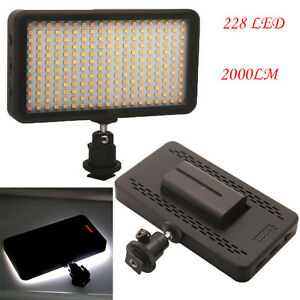 228-LED-Video-Light-Lamp-Panel-Dimmable-2000LM-for-DSLR-Camera-DV-Camcorder