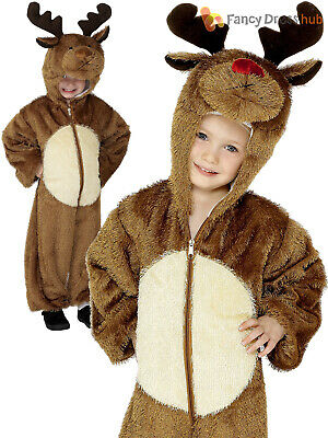 New Child Toddler Reindeer Rudolph Red Nose Christmas Xmas Fancy Dress Costume