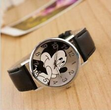 Fashion Cartoon Mickey Mouse Leather Wrist Watch Lady Girl Women Teens Kids Gift