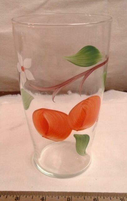 Vase Hand Painted Fruit on Clear Glass Vintage and Retro