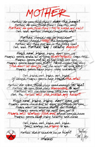 Pink Floyd MOTHER Song Lyric Poster 11x17 Roger Waters The Wall Original Art