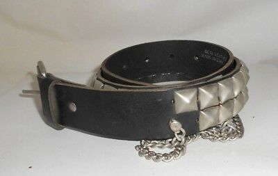 BLACK Real Leather 2 Rows Pyramid Studded Mens Belt Size L 38mm Wide PB2