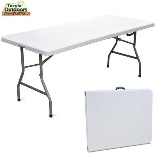 Tavolo Pieghevole in Resina 183x76x72cm Metallo Richiudibile a Valigetta Bianco Per il giardino