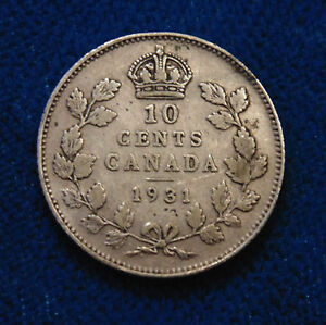 CANADA-1931-silver-Ten-10-Cents-dime-King-George-V
