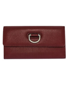 Burberry Ladies D-Ring Crimson & Stone Leather Clutch Wallet 8005358 MSRP $650