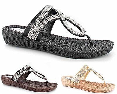 Para Mujeres Nuevo Suave Diamante Sandalias Damas mulas Flip Flap zapatos talla 3-8