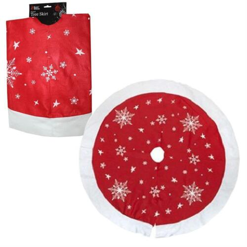 """Large Christmas Xmas Tree Skirt Base Cover Decoration Red Snowflakes 90cm 35/"""""""