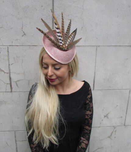 Nude Dusky Pink Pheasant Feather Flower Disc Saucer Hat Fascinator Hair 6814