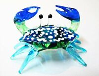 Handcrafted Miniature Hand Blown Glass Small Blue Crab Figurine Collection, New,