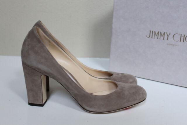 f03f4d69dfbf sz 7.5   37.5 Jimmy Choo Billie Light Mocha Gray Suede Round Toe Heel Pump  Shoe