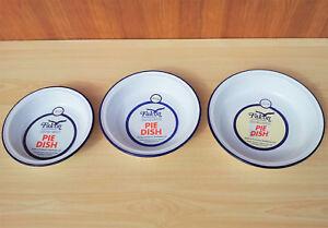 Lot de 3 Falcon rond en émail Pie Dish metal tin Camping Vaisselle Pudding Bowl  </span>