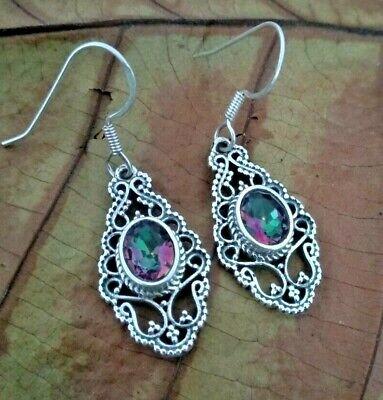 Pink Topaz Cluster Earrings Handmade Mystic Topaz Dangle Earrings