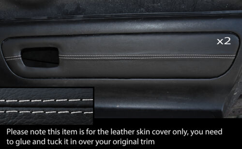 Gris stitch 2x carte porte garniture en cuir peau couvre fits Toyota MR2 Mk3 2000-2007