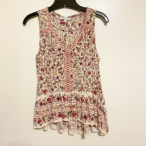 Patrons-Of-Peace-Boho-Floral-Pink-amp-Ivory-Indiana-Top-Size-Small