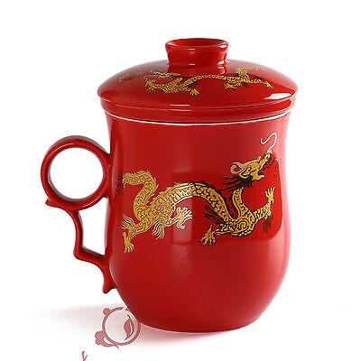 270ml Golden Dragon Ceramic Red Porcelain Tea Mug Cup with lid Infuser Filter