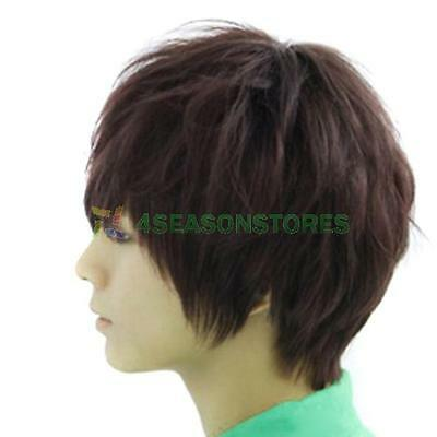 Fashion Man Neutral Short Full Dark Brown Straight Wig Hair Extensions Cosplay