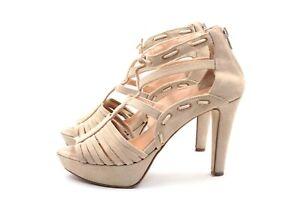 Details zu SISLEY Sandalen Pumps Gr. 38 UK 5 Beige Voll Leder Wildleder Damen Schuhe