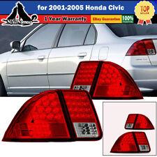 For 2001 2005 Honda 01 05 Civic 4 Door Sedan Taillight Led Lamps Rear Lights Red Fits 2004 Honda Civic