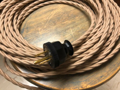 Twisted 3-Wire Cloth Covered Cord 18ga Vintage Antique Lights Rayon Beige Tan