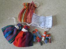 """Hand Made Mayan Trouble Doll 2/"""" Bag 6x Large Guatemalan Worry Dolls in POUCH"""