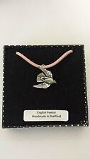 B15 Stooping Falcon Motif Pewter  PENDENT ON A PINK CORD Necklace Handmade