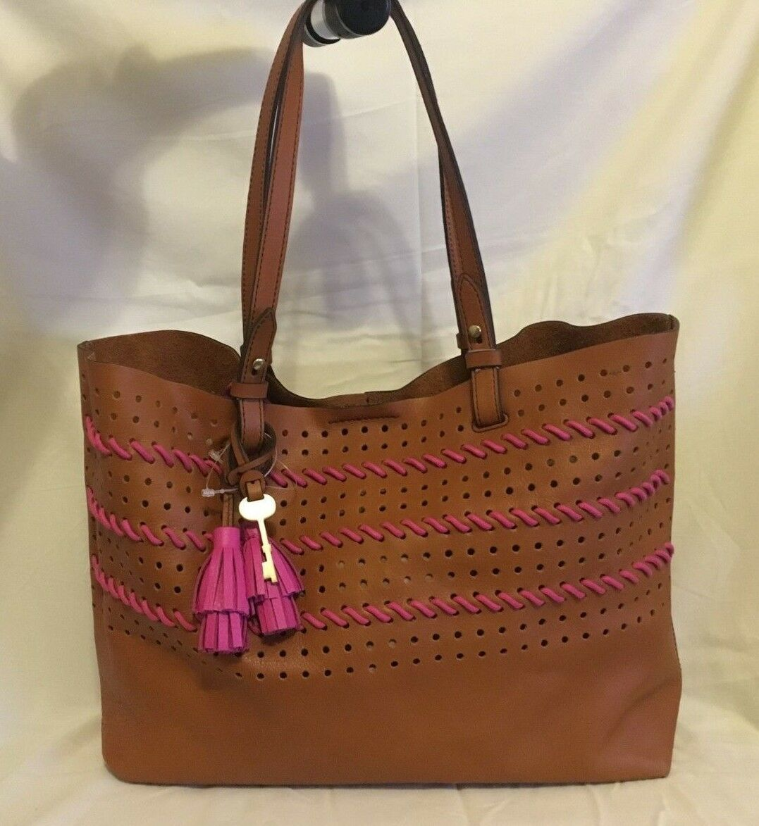 ed67905cc Fossil Rachel Collection Perforated Shoulder Tote Brown Pink Leather ...