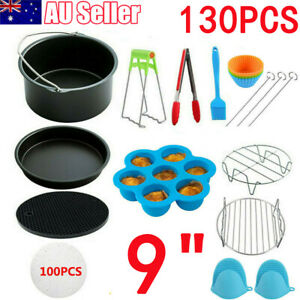 130 Pcs 9 Air Fryer Accessories Rack Cake Pizza Oven Barbecue Frying Pan Tray Ebay