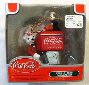 Coca-Cola Trim·A·Tree Polar Bear and Penguin at Coke Chest Ornament 2003 NIP