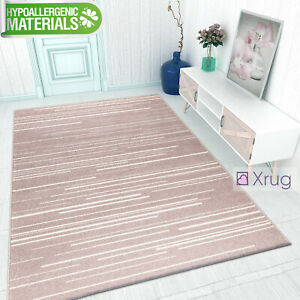 Details about Dusky Pink Rugs Modern Low Pile Carpet Living Room Bedroom  Mat 120x170 160x220