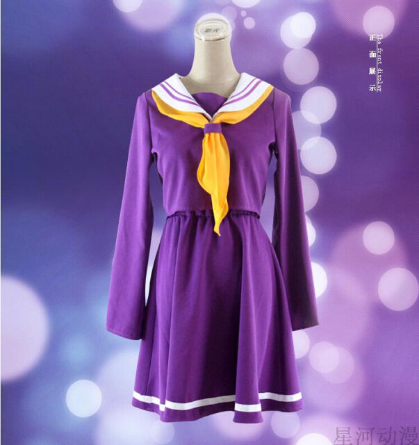 NO GAME NO LIFE Shiro School Uniforms Cosplay Costume Dress Set Free shipping