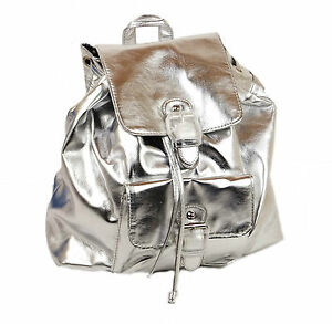 New-Womens-Backpack-Ladies-Travel-Bag-Girls-School-Rucksack-in-Pink-amp-Silver-UK