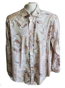 Thomas-Dean-Mens-Button-Up-Flip-Cuffs-Paisley-Dress-Shirt-Size-L-Large