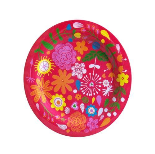 Melamin Teller Flowers rot 25 cm Camping Geschirr Garten Zelten Party  NEU