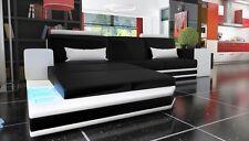Ledersofa Wohnlandschaft XXL Big Sofa Eck Couch Ecksofa Bar mit Beleuchtung Neu