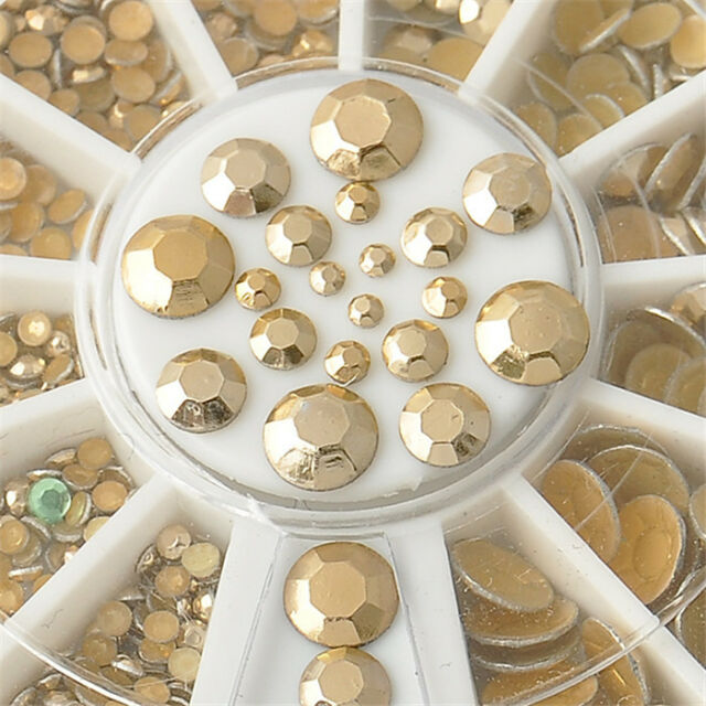 300pcs 5 Sizes Gold Rivet 3D Nail Art Decoration Acrylic Glitter Rhinestone DIY