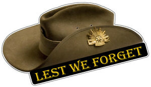 Anzac Day Slouch Hat Lest We Forget Australian Army Car Decal ... 02002fc2d