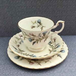 ROYAL-ALBERT-TRIO-SET-1950s-BRIGADOON-PINK-BLUE-THISTLE-GILDED-BONE-CHINA