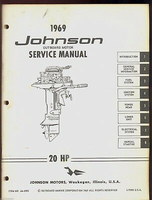 1969 Johnson Sea Horse Outboard 20 Hp Models Service Repair Manual Jm 6905 Ebay