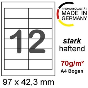 Internetmarke 120 Etiketten 97x42,3 mm Post Frankatur 4781 Weiss Frankierung A4