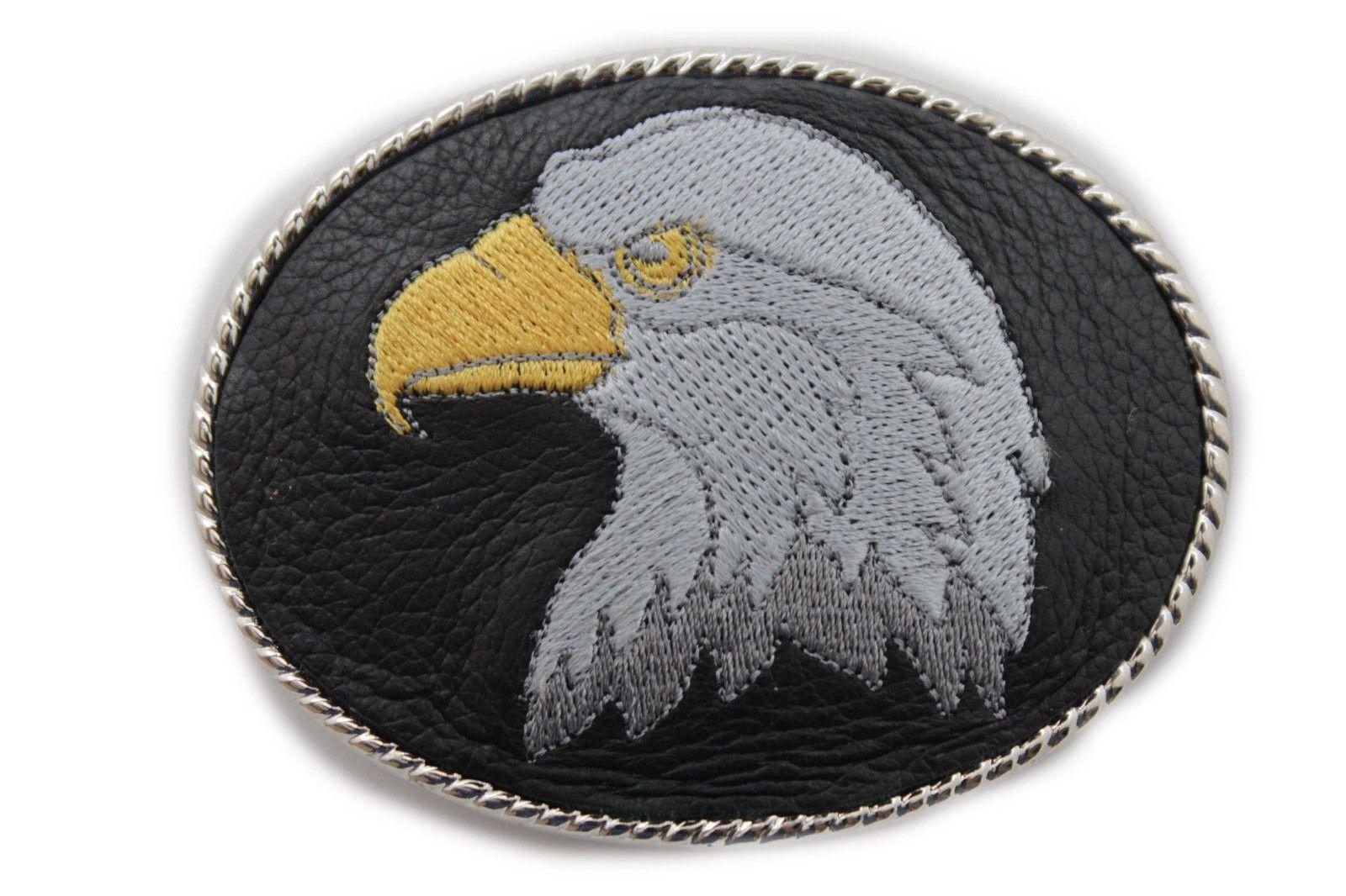 Herren Damen Gürtelschnalle Silber Metal Freizeit Schwarz Leder American Eagle