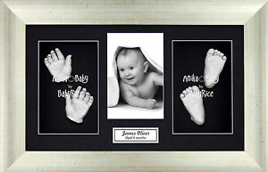 Baby Casting Kit Silver Hands /& Feet Antique Silver 3D Frame Christening Gift