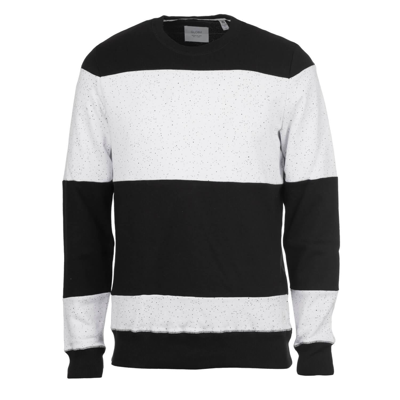 Globe Dust Crew Pullover Weiß - Herren Rundhals Sweatshirt im Streifenlook