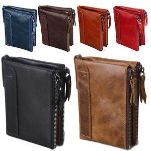 Men-039-s-RFID-Block-Crazy-Horse-Leather-ID-Window-Zipper-Coin-Pocket-Bifold-Wallet