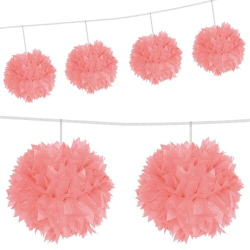 Pompom Girlande rosa mit 4 Pompoms 3 m lang
