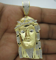 .65 Ct 2.5 Inch Mens Yellow Gold Finish Diamond Jesus Head Cross Pendant Charm