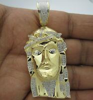.65 Ct 2.5 Inch Mens Yellow Gold Finish Diamond Jesus Head Cross Pendant Charm