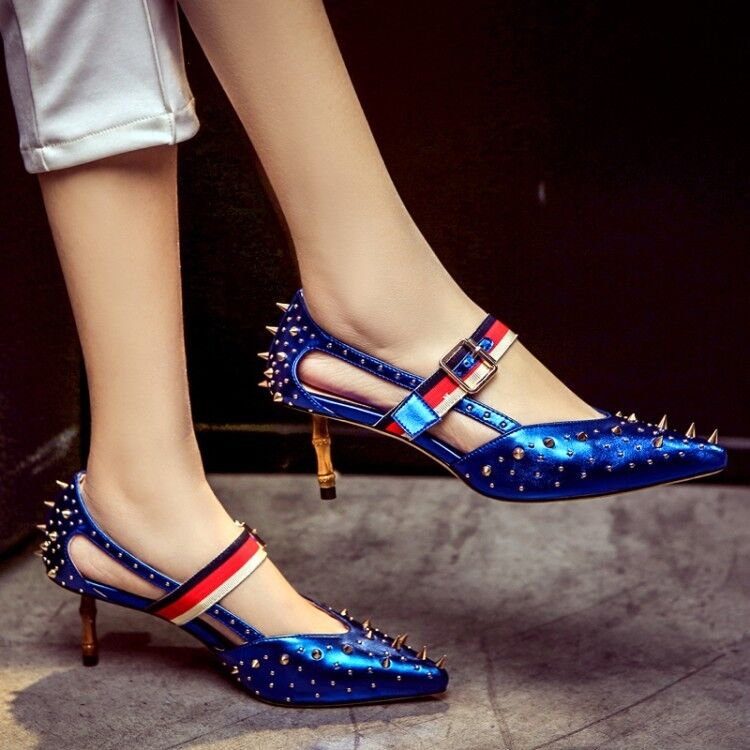 Fashion Sexy Pointed Rivet Rivet Rivet Lateral Pump Special High Heels Women shoes Size 8 13ca6c