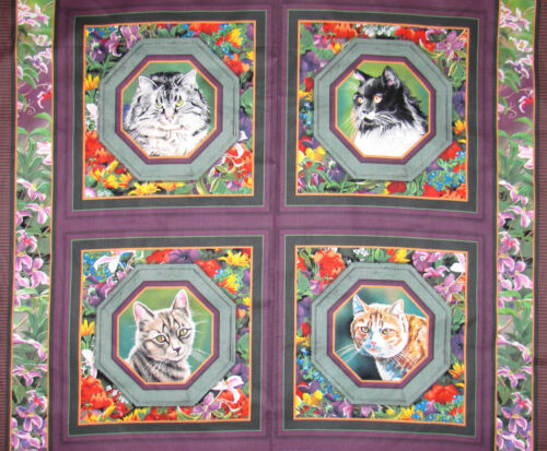 Cat Nap Wild Wings Kitty Cats Garden Floral Animal  4 Scene Cotton Fabric PANEL