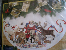 "Christmas Dimensions GOLD Counted Tree Skirt KIT,SANTA'S WILDLIFE,Race,45"",#8565"